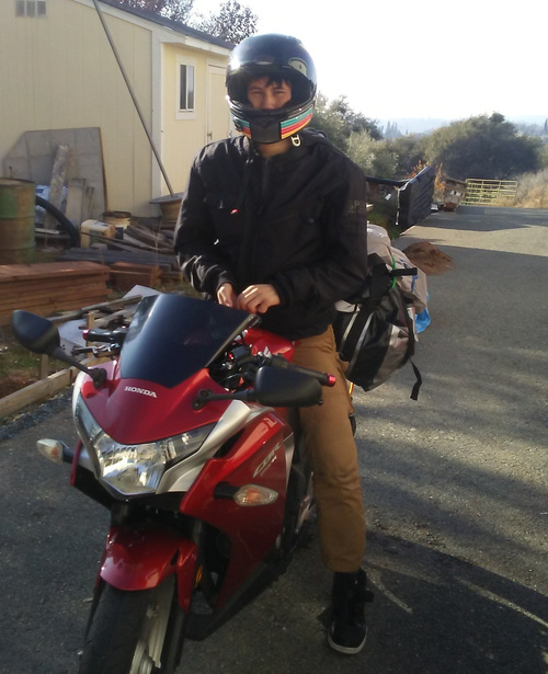 Ryan on a motorcycle.